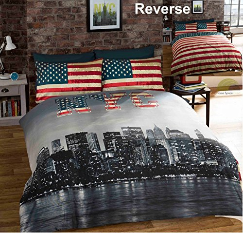 bedding heaven r versible new york skyline drapeau. Black Bedroom Furniture Sets. Home Design Ideas
