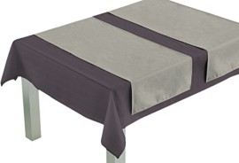 Linge de table serviettes de table en coton jaune orange - Chemin de table gris perle ...