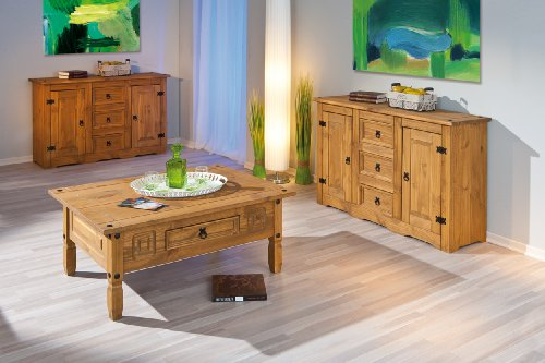 Links buffet mex 1 bahut bas commode meuble 3 tiroirs et for Meuble buffet salon