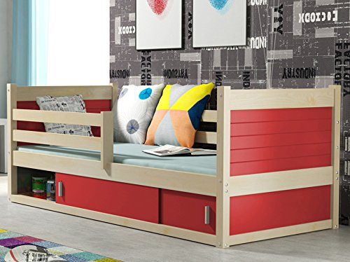lit pour enfant rico 1 en pin 200 90 pin naturel sommier. Black Bedroom Furniture Sets. Home Design Ideas