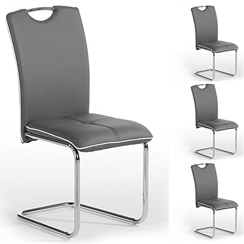 Lot De 4 Chaises De Salle A Manger Eleonora Pietement Chrome Simili