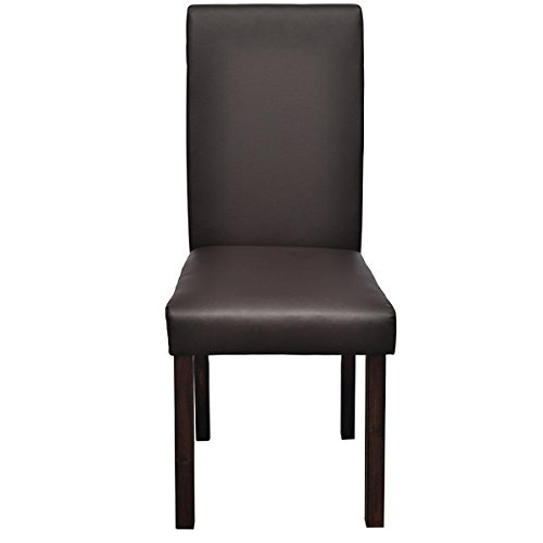 Lot de 6 chaises de salle manger en simili cuir marron for Chaise de salle a manger simili cuir marron