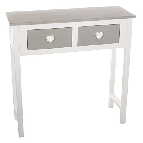 meuble console table 2 tiroirs design coeur en bois coloris blanc et gris. Black Bedroom Furniture Sets. Home Design Ideas