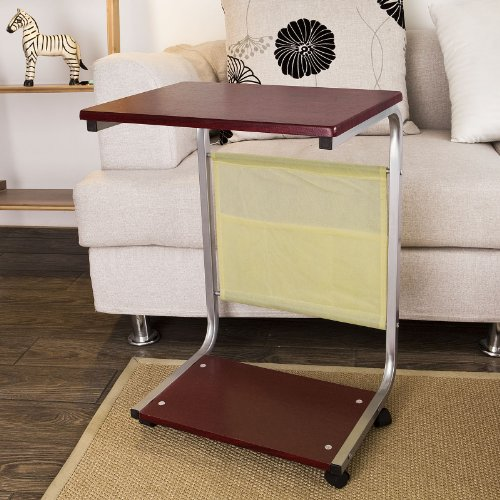 Sobuy fbt21 br table d 39 appoint roulettes table basse for Table d appoint pour lit