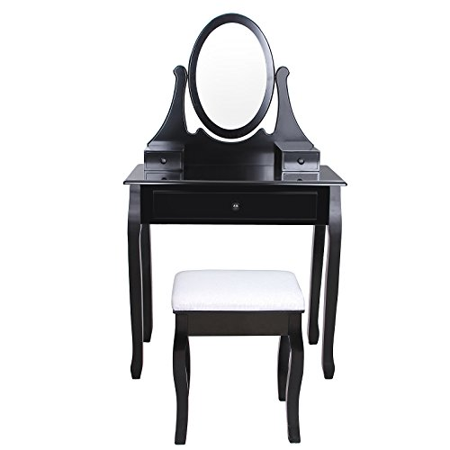 songmics coiffeuse avec tabouret tiroir et miroir pivotant noir 140 x 80 x 40 cm rdt02h. Black Bedroom Furniture Sets. Home Design Ideas