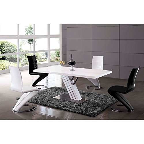 Table manger design laqu e blanche belco111 for Mobilier salle a manger design