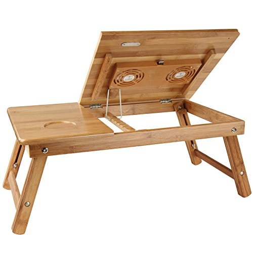 Table de lit en bambou plateau inclinable pour pc - Table de ventilation pour pc portable ...