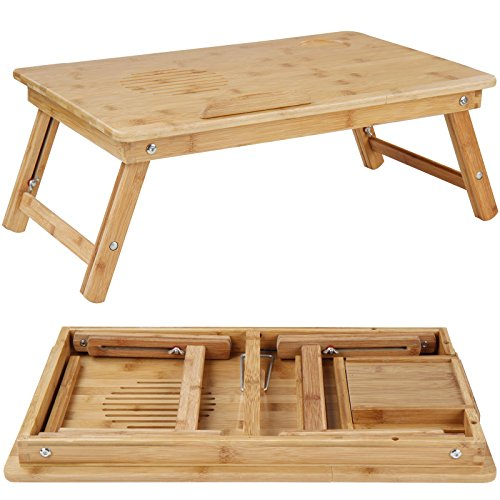 Table de lit en bambou plateau inclinable pour pc - Table de lit pour ordinateur portable ...