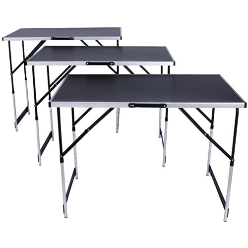 tectake tables tapisser en aluminium ensemble de 3 tables tr teaux table de travail 300x60cm. Black Bedroom Furniture Sets. Home Design Ideas