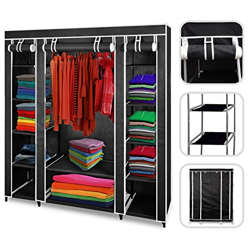 todeco armoire penderie noire en tissu garde robe 3 portes et fermeture zip. Black Bedroom Furniture Sets. Home Design Ideas