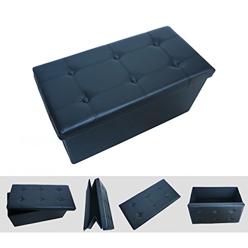 todeco pouf coffre de rangement pliable noir 76x38x38cm. Black Bedroom Furniture Sets. Home Design Ideas