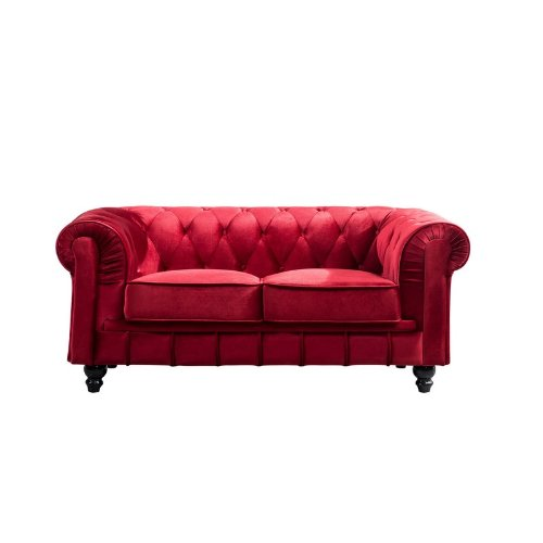 canap 2 places velours rouge chesterfield. Black Bedroom Furniture Sets. Home Design Ideas