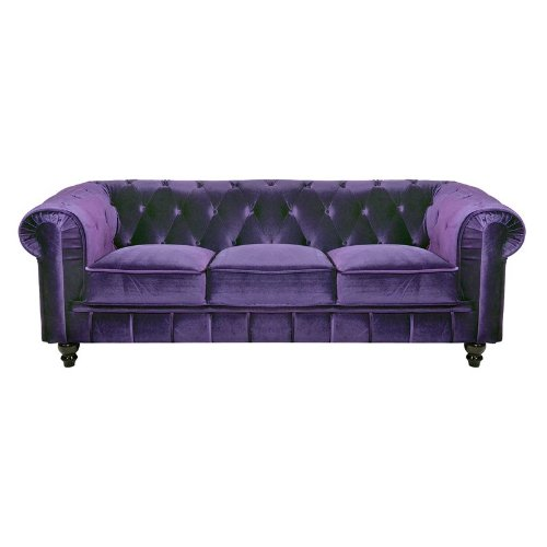 canap 3 places velours violet chesterfield. Black Bedroom Furniture Sets. Home Design Ideas
