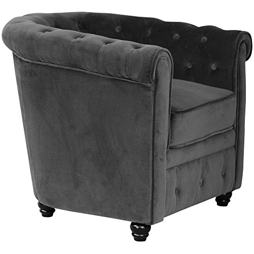 fauteuil chesterfield velours gris anthracite