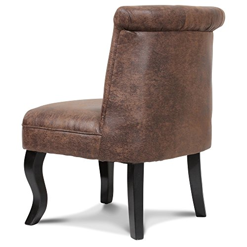fauteuil crapaud capitonn microfibre marron vintage chambord. Black Bedroom Furniture Sets. Home Design Ideas