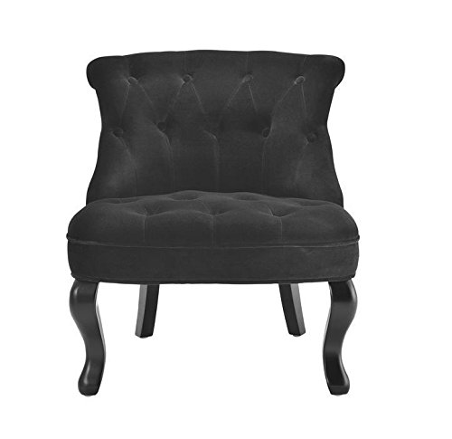 fauteuil crapaud capitonn velours noir venise. Black Bedroom Furniture Sets. Home Design Ideas