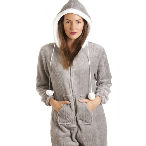 combinaison pyjama capuche en polaire ultra douce femme gris taille 38 48. Black Bedroom Furniture Sets. Home Design Ideas