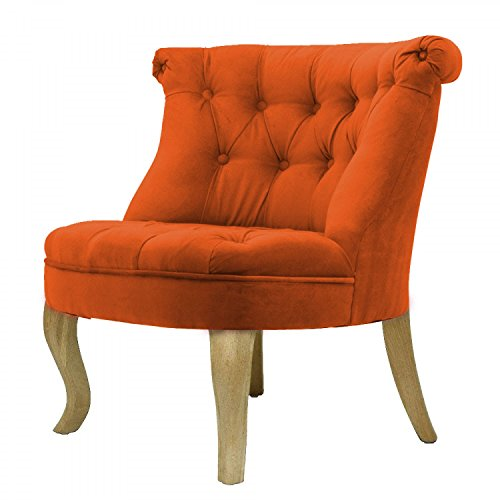 fauteuil crapaud capitonn velours orange trianon. Black Bedroom Furniture Sets. Home Design Ideas