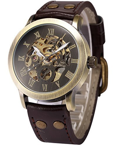 montre homme cadran marron squelette m canique automatique analogique bracelet cuir pmw198. Black Bedroom Furniture Sets. Home Design Ideas