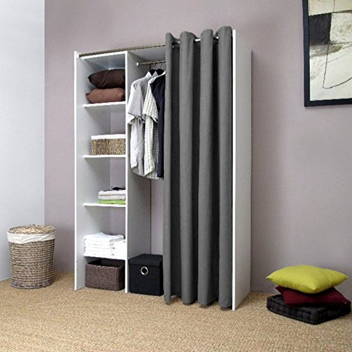 pix dressing extensible blanc rideau anthracite avec tag res de rangements. Black Bedroom Furniture Sets. Home Design Ideas