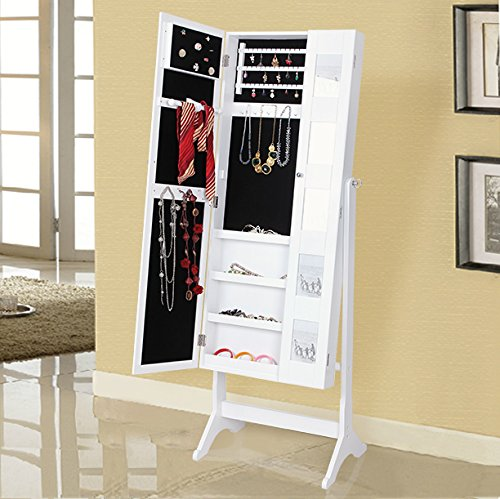 songmics 154x53x38 cm armoire bijoux rangement avec miroir blanc jbc27w. Black Bedroom Furniture Sets. Home Design Ideas