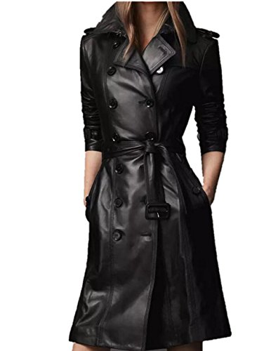 wealsex manteau long pu cuir trench coat veste avec. Black Bedroom Furniture Sets. Home Design Ideas