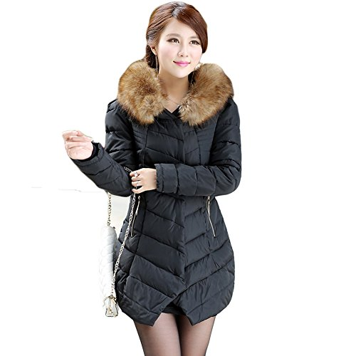 june 39 s young femme blouson col fourrure artificiel veste parka manteau hiver chaud noir rouge. Black Bedroom Furniture Sets. Home Design Ideas