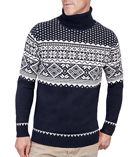 Wool Overs Pull jacquard à col roulé homme