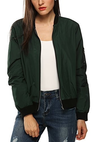 zeagoo femme veste blouson jacket bomber zip slim 2015 mode automne hiver noir army green. Black Bedroom Furniture Sets. Home Design Ideas