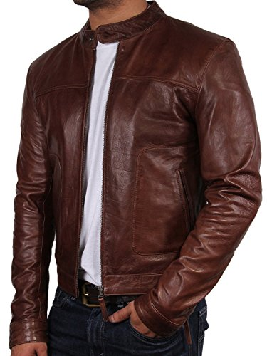 biker cuir veste homme marron neuf avec transformation style bomber en cuir design style veste. Black Bedroom Furniture Sets. Home Design Ideas