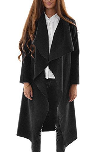 cravog femme ouvrir avant trench cardigan veste manteau gilet cape hauts pardessus ponchos. Black Bedroom Furniture Sets. Home Design Ideas
