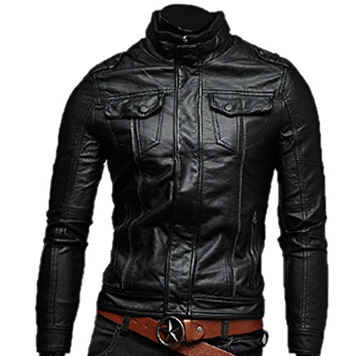 tangda blouson en cuir homme moto manteau hiver jacket mode casual veste. Black Bedroom Furniture Sets. Home Design Ideas