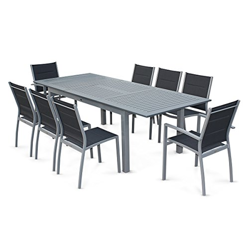 alice 39 s garden salon de jardin table extensible chicago gris table 175 245cm avec rallonge. Black Bedroom Furniture Sets. Home Design Ideas
