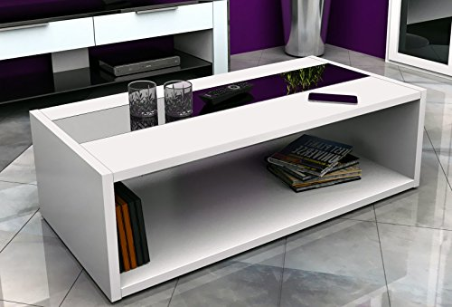 Berlenus Mandise Table Basse Blanc Noir Brillant