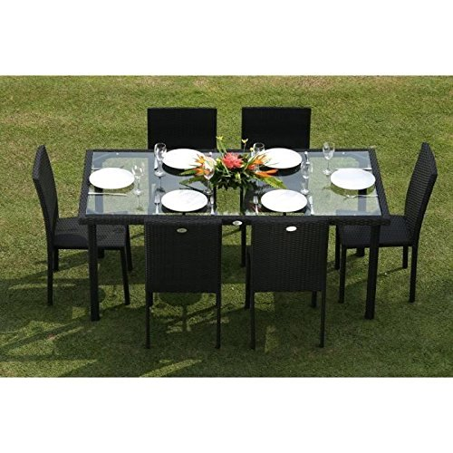 Ensemble table de jardin 180 cm et 6 chaises r sine tress e gris anthracite - Ensemble chaise et table de jardin ...