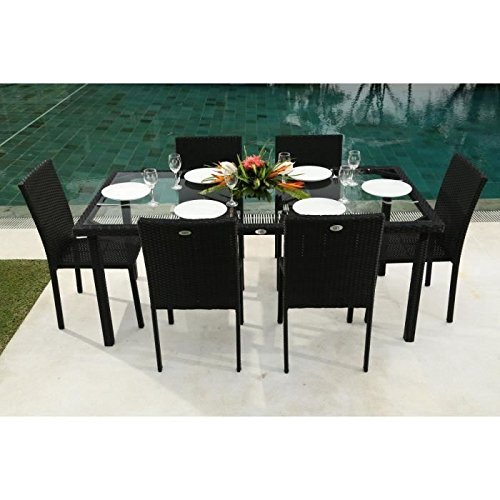 Ensemble table de jardin 180 cm et 6 chaises r sine tress e gris anthracite - Table et chaise en resine tressee ...