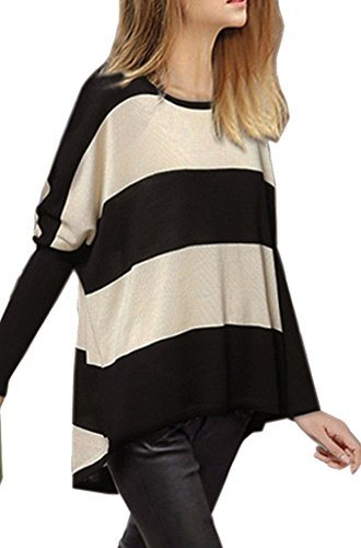 jardin r v pull tricot hiver femme chaud manches longues col rond rayure pull over sweater. Black Bedroom Furniture Sets. Home Design Ideas