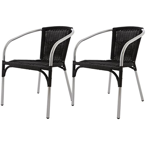 lot de 2 fauteuils venetie couleur noir fauteuil de jardin terrasse en aluminium polyrotin. Black Bedroom Furniture Sets. Home Design Ideas
