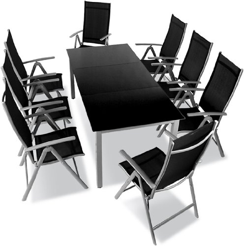 salon de jardin 8 chaises pliables 1 table avec. Black Bedroom Furniture Sets. Home Design Ideas