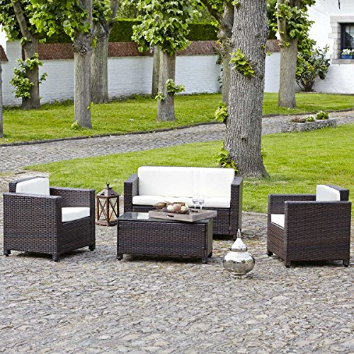 Salon De Jardin En R Sine Tress E Choco Ecru Canap 2 Fauteuils Table Basse