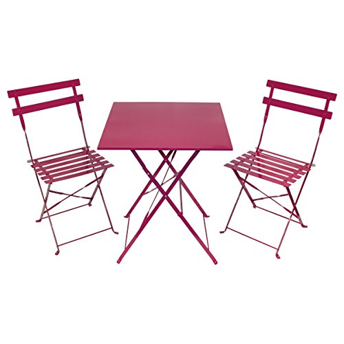 salon de jardin style bistro 3 pi ces table carr e et 2 chaises m tal magenta. Black Bedroom Furniture Sets. Home Design Ideas