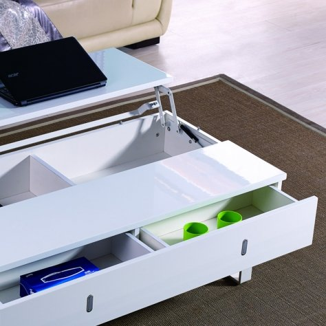 TABLE BASSE LAQUE BLANC RELEVABLE MUTIFONCTION EASY