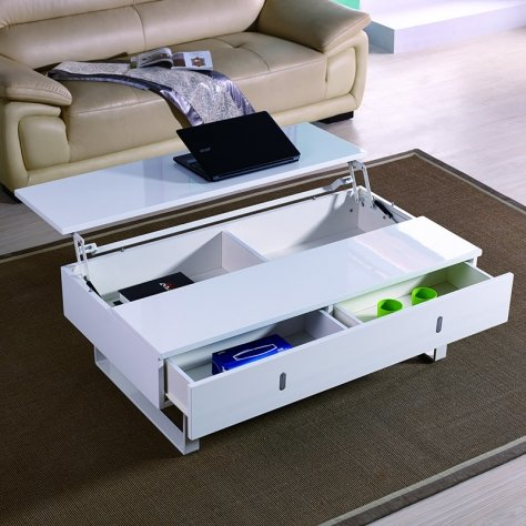 table basse laque blanc relevable mutifonction easy. Black Bedroom Furniture Sets. Home Design Ideas