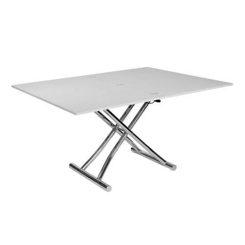 Table basse relevable rallonge grise laqu e 140 cm neptune - Table basse grise laquee ...