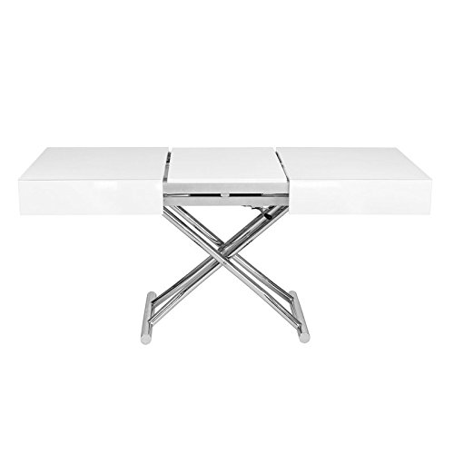 Table basse relevable extensible blanche laqu e smart - Table basse relevable blanc laque ...