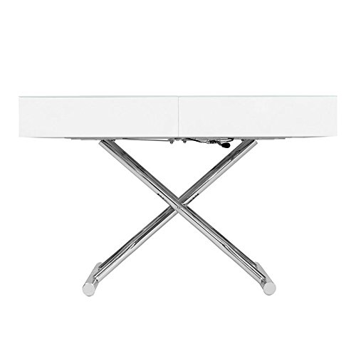 Table basse relevable extensible blanche laqu e smart for Table basse laquee beige