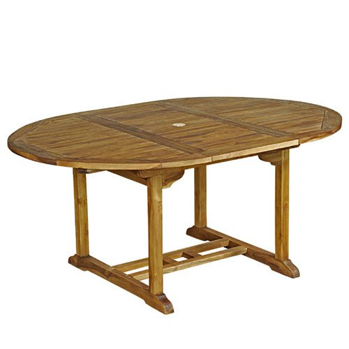 Table de jardin ovale teck huil 6 8 personnes larg 120 cm for Table de jardin 8 personnes