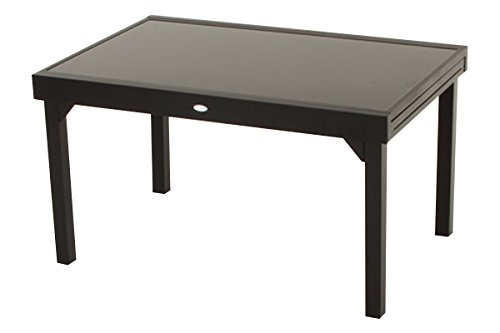 Table extensible clemence noire 6 10 places 270 x 90 x for Table 90 extensible