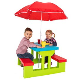 tectake ensemble de jardin pour enfant 2 bancs parasol table d 39 activit. Black Bedroom Furniture Sets. Home Design Ideas