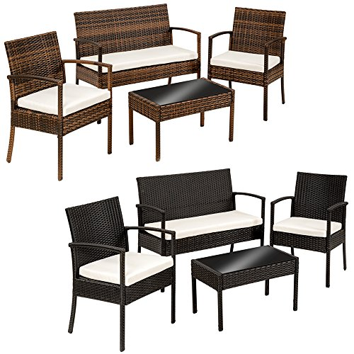 Tectake salon de jardin table de jardin en resine tressee chaises salon d 39 exterieur poly rotin for Chaise salon de jardin couleur